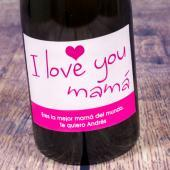 Botella de champán I love you mamá