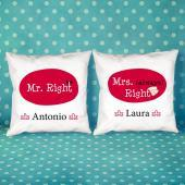 Pack de cojines personalizados Mr y Mrs right