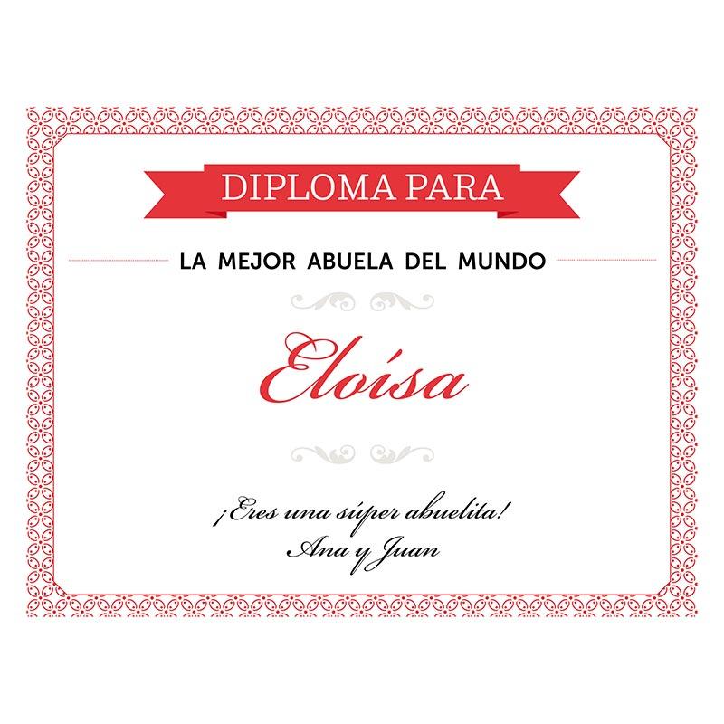 Diploma personalizado para la mejor abuela for La cocina dela abuela paca