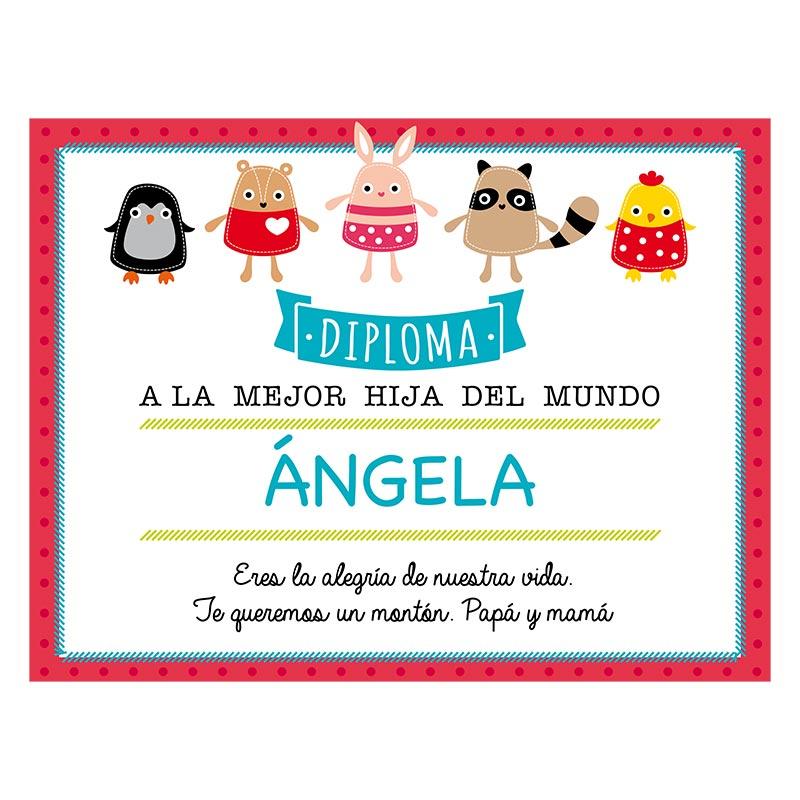 regalos personalizados diseo y decoracin diploma personalizado para la mejor hija