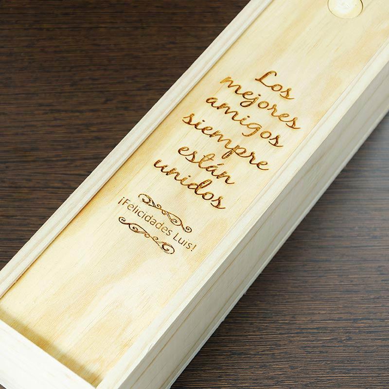 regalos regalos con nombre caja botella de vino con texto grabado