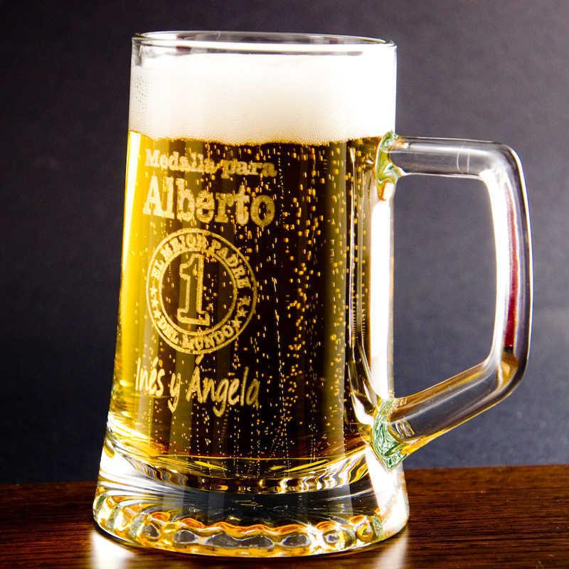 Jarra de cerveza con medalla al mejor padre for Jarras para cerveza