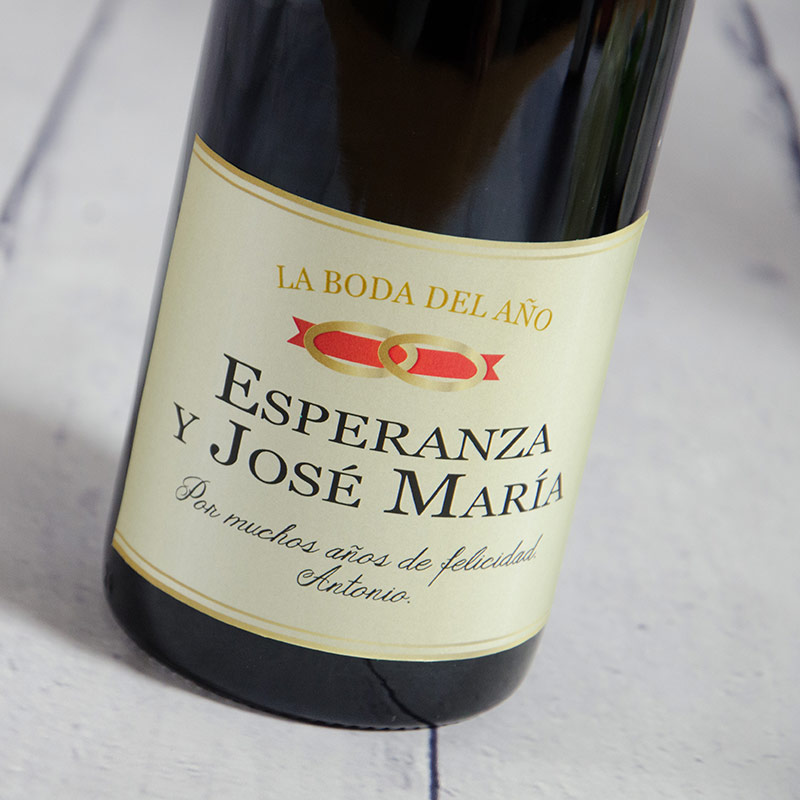 Botella de vino boda personalizada for Regalos novios boda