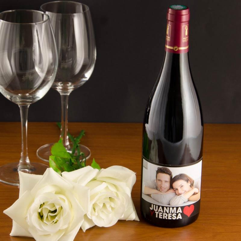 Botella de vino personalizada amor con foto - Botelleros de vino ...