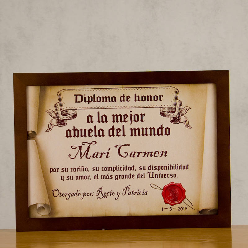 Diploma pergamino a la mejor abuela for Regalos abuela ideas