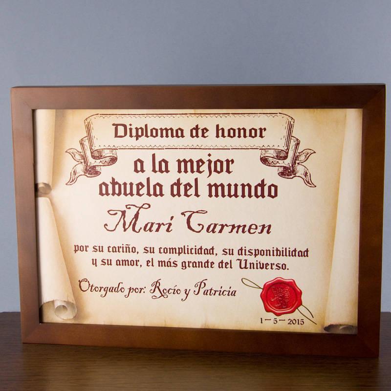 Diploma pergamino a la mejor abuela