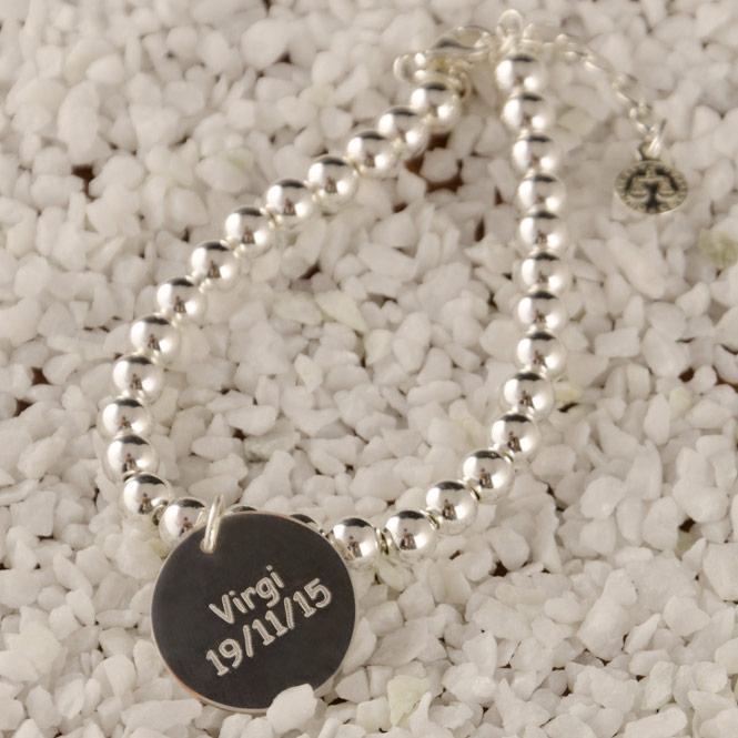 31015826ee71 Regalos personalizados Joyas personalizadas  Pulsera bolitas plata  personalizada