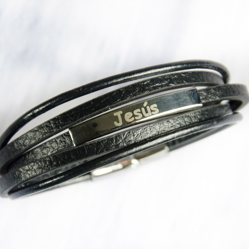 66bf826ce340 Regalos personalizados Joyas personalizadas  Pulsera grabada de acero y piel