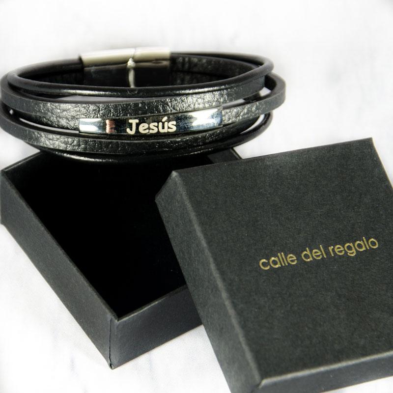37febc26f00b Regalos personalizados Joyas personalizadas  Pulsera grabada de acero y piel