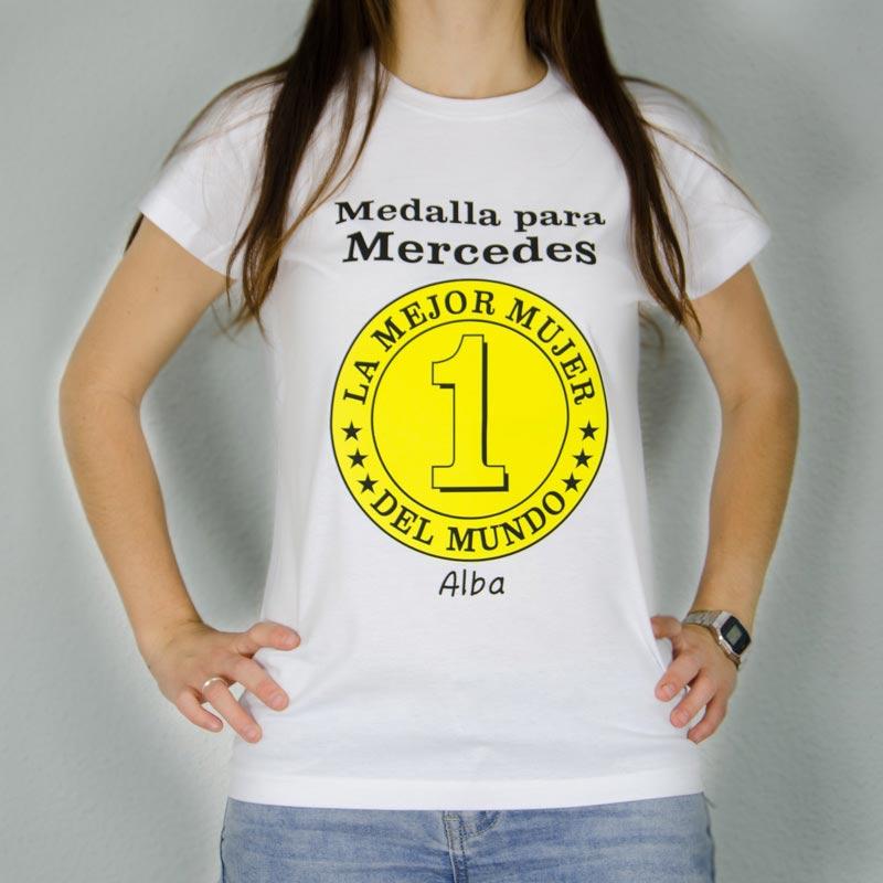 Regalos personalizados Camisetas personalizadas  Camiseta medalla mejor mujer  personalizada 784f7cec9e5b8