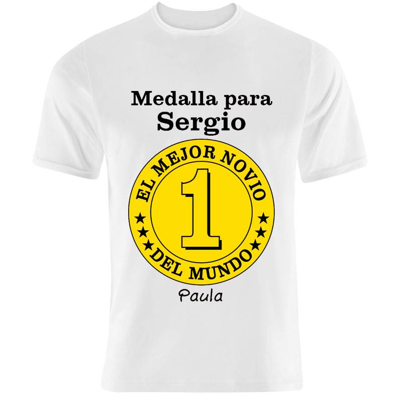 956fdb8000dd9 Regalos personalizados Regalos con nombre  Camiseta medalla mejor novio  personalizada