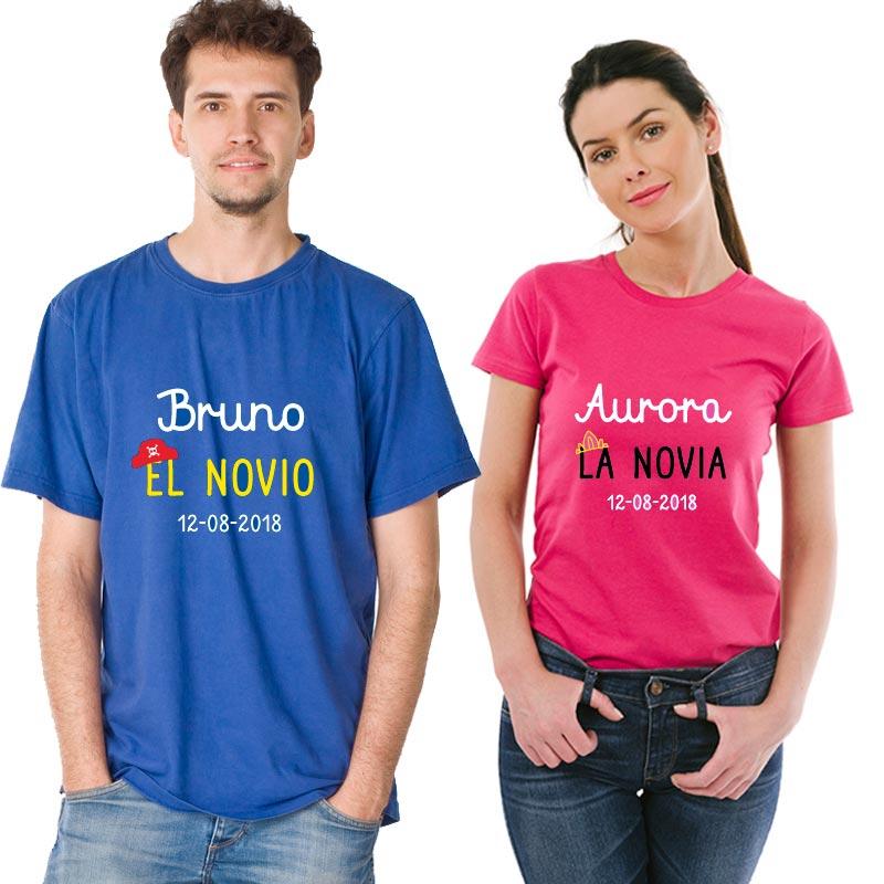 fd1be008b5c2e Regalos personalizados Regalos con nombre  Pack camisetas personalizadas  Los novios